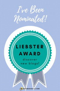 Ribbon with Liebster Award title on it